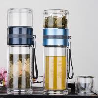 便携过滤水杯保温杯耐热杯子茶水分离泡茶杯双层玻璃杯