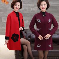 中年 秋天的外套气质妈妈装春秋毛衣外套中长款40岁50中老年女冬装长袖针织开衫薄 图片色