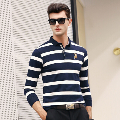春秋季t恤男长袖翻领条纹polo衫男装衬衣袖口刺绣体恤