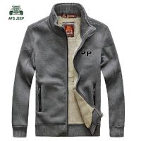 战地吉普AFSJEEP秋装新品纯棉立领卫衣外套 5183加绒男士保暖开衫