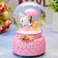 礼品学生家居水晶球音乐盒可爱KT猫闪灯音乐八音盒生日礼物