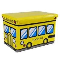 快乐鱼 多功能汽车收纳凳玩具储物凳 加厚加大收纳整理箱儿童杂物收纳箱黄色校车 大号