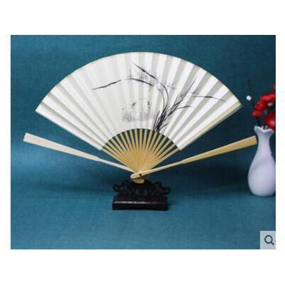 7寸玉竹折扇 苏工扇面 手绘纸扇老匠人纯手工制作扇扇子 可礼品卡支付