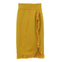 甜美高腰加厚流苏毛线针织裙女学生半身长裙秋冬季 姜黄色