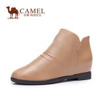 Camel/骆驼女鞋 时尚舒适 水染牛皮圆头拉链内增高中跟女短靴新款