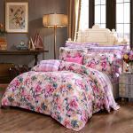 富安娜家纺 圣之花纯棉磨毛四件套 全棉床品套件单双人床单被套 遇见爱