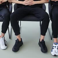 森马夏季新款休闲长裤男宽松撞色拼接印花束口小脚运动裤潮