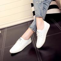 人本护士鞋小白鞋系带平底板鞋 纯白色女士单鞋 学生百搭休闲皮鞋