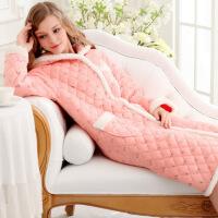 ??睡衣女冬季加厚三层保暖珊瑚绒法兰绒夹棉家居服加长版套装9587852
