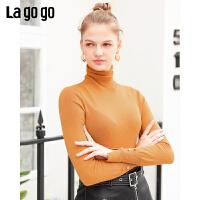 Lagogo2019冬季新款V领开衩修身套头针织衫女简约上衣ICMM439G76