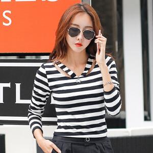 2017秋装新品韩版女装上衣春秋长袖体恤女条纹显瘦V领t恤打底衫潮