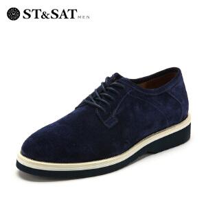 【3折到手价149.7元】星期六男鞋(ST&SAT)牛皮革方跟系带时尚秋单鞋SS53123960