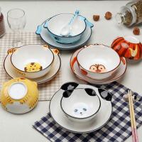 儿童餐具套装 男女童卡通面碗盘子儿童动物系列家用餐具礼品甜品碗点心碗陶瓷三件套