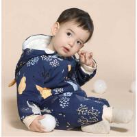 婴儿连体衣秋冬季加厚套装外出服抱衣夹棉哈衣爬服男宝宝衣服冬装