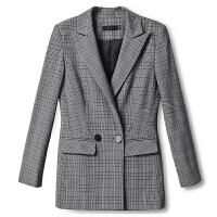 时尚气质秋季新款翻领黑白格纹灰色西装外套女修身 黑白格纹灰色UTUC020