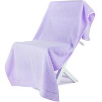 [当当自营]三利 A类加厚长绒棉缎边大浴巾 紫丁香色 纯棉吸水 柔软舒适 带挂绳 婴儿可用