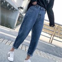 白领公社 牛仔裤 女士秋冬季新款排扣高腰小脚裤女式紧身保暖加绒加厚学生长裤子