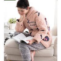 新款睡衣女 加厚三层夹棉珊瑚绒家居服长袖法兰绒休闲套装 支持礼品卡