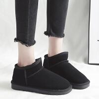 斜口雪地靴女短筒雪地棉加厚加绒保暖面包鞋低筒短靴子冬