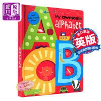【中商原版】英文原版 My Awesome Alphabet Book ABC 儿童字母启蒙书 镂空异形书 纸板书 3