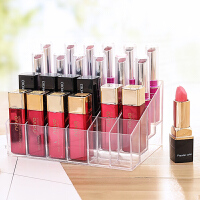 透明多格口红收纳盒展示架24格 塑料桌面唇膏口红架化妆盒