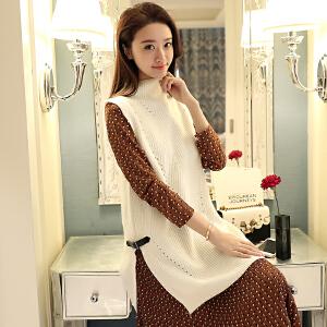 新款韩版开叉纯色时尚百搭马甲女中长款针织背心高领宽松毛衣潮