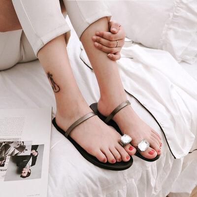 O'SHELL欧希尔新品057-1758欧美平底鞋女士凉拖鞋