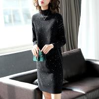 杂色半高领羊毛针织连衣裙秋冬黑色显瘦中长款打底毛衣裙 黑色白点 均码
