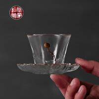 日式功夫茶具玻璃耐热茶杯子单茶杯茶托杯垫组合套装描金隔热垫