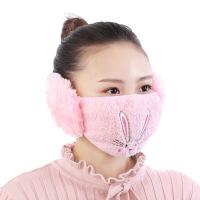 女士卡通小熊毛绒保暖护耳口罩 成人冬季口罩耳罩耳套二合一