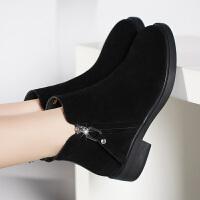 金特平底短靴女加绒软底大码女靴磨砂粗跟英伦风马丁靴