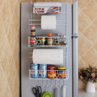 侧边挂架 吸盘防滑设计厨房用品冰箱侧边储物挂架保鲜膜纸巾大容量收纳置物架