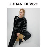 UR2020冬季新品青春女装毛衣针织衫条纹针织T恤YV47S9BN2009