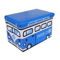 快乐鱼 多功能汽车收纳凳玩具储物凳 加厚加大收纳整理箱儿童杂物收纳箱蓝色巴士大号大