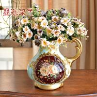 墨菲 欧式花瓶摆件陶瓷单耳花器创意客厅装饰品简约现代仿真花艺