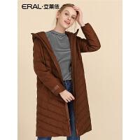 ERAL/艾莱依2018冬新款韩版时尚轻薄修身羽绒服女中长款617105038