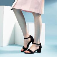 2019新款【气质显白】绒面粗跟一字带单鞋鞋搭扣中跟凉鞋女