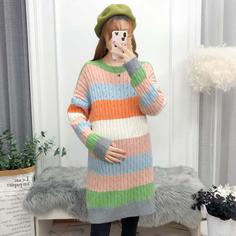 中长款上衣潮妈冬装两件套孕妇秋冬款毛衣套装时尚针织衫