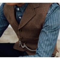 新款秋美式复古经典人字纹tweed粗花呢咔叽西装马甲工装男装绅士 咖啡色