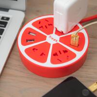 创意柠萌U站多功能甜甜圈柠檬智能插座USB充电器排插拖线板电源