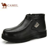 camel骆驼男靴时尚休闲牛皮男靴侧拉链金属 冬季新款皮靴
