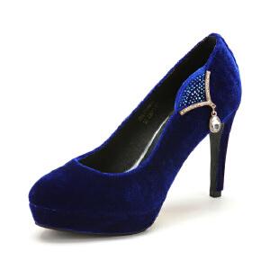 【3折到手价104.7元】菲伯丽尔Fondberyl春夏布高跟套脚水钻单鞋女FB41119911