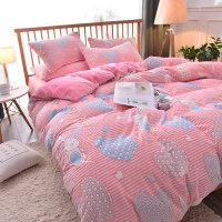 6D雕花法莱绒四件套加厚保暖珊瑚绒被套1.8m床上用品法兰绒4件套 【2.0m床单式】被套: 220*240,床单24