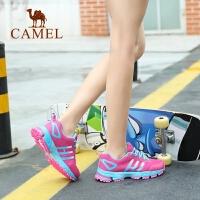 Camel/骆驼女鞋韩版百搭网面系带撞色低跟运动户外鞋