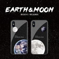 地球月球苹果7plus手机壳xs max玻璃xr简约冷淡风6plus情侣8p文艺iphone6网红潮款8个性创意7全包