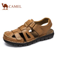 Camel/骆驼男鞋凉鞋夏季 头层牛皮沙滩鞋包头休闲凉鞋男 新款