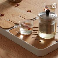橙舍 偷闲茶盘(新款)功夫茶具套装储水式竹茶盘带零食储物盒