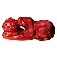 印度小叶紫檀木雕旺财如意手把件红木雕刻十二生肖狗工艺品