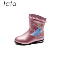 【3折价:170.4元】他她tata童鞋女童靴子冬新款女靴冰雪奇缘中筒靴子中童公主时尚靴子