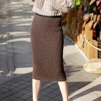 春秋新款羊绒包臀女一步裙加厚半身裙修身毛线裙显�C针织羊毛裙